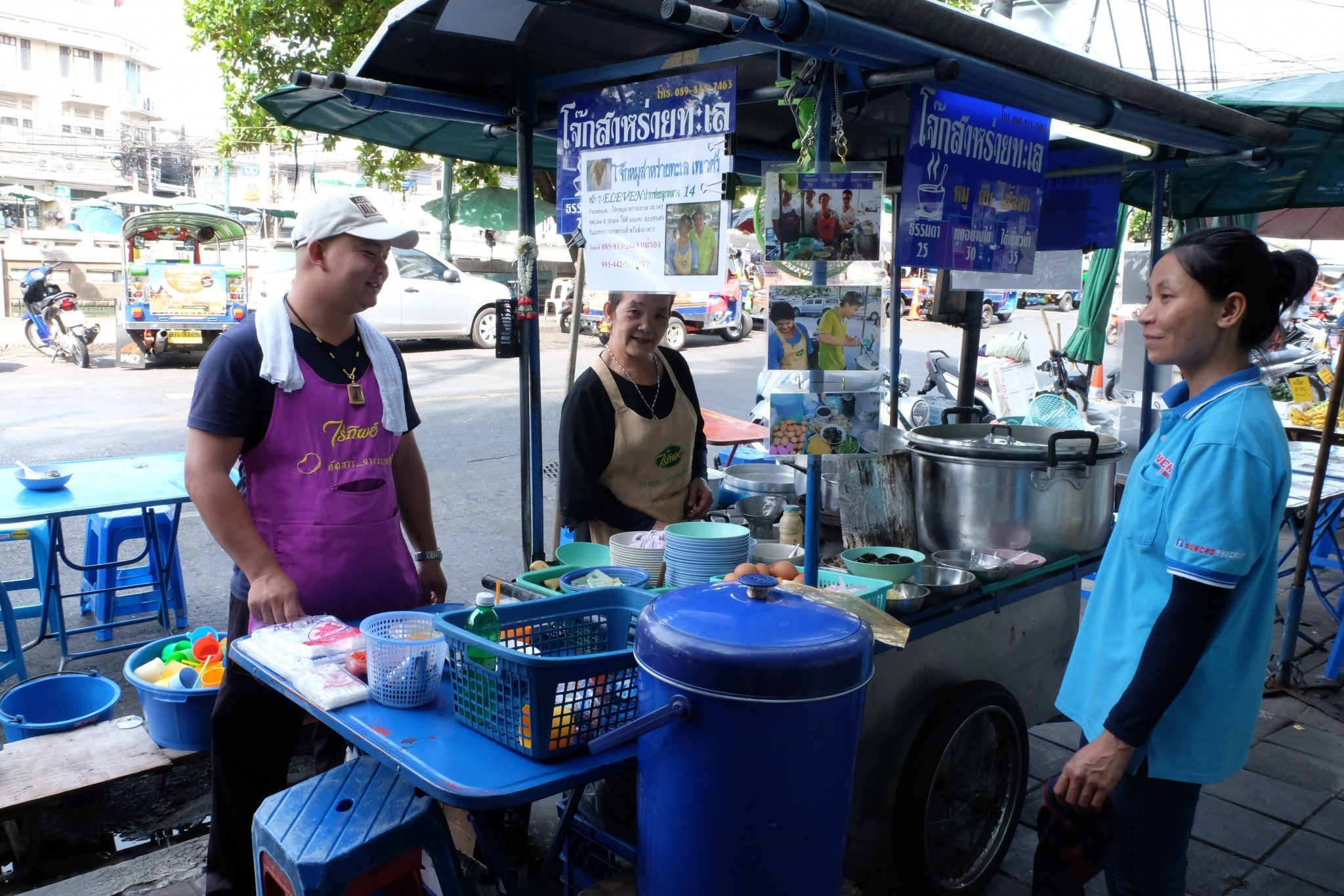congee stall on the street in Bangkok
