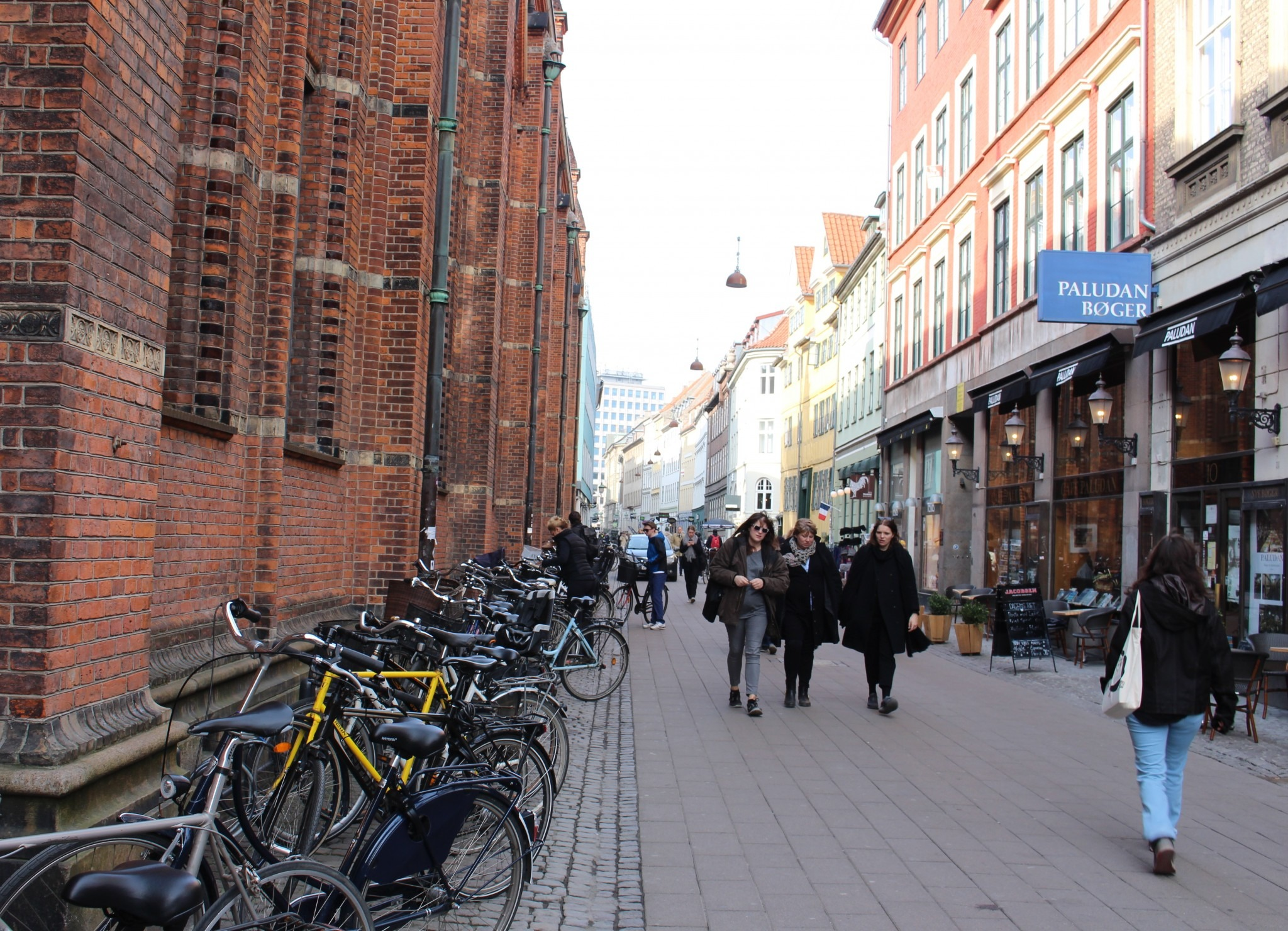 people walking down a pedestrian street in Copenhagen