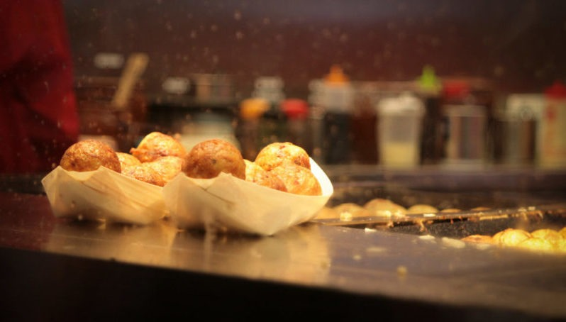 close-up of takoyaki balls in Osaka