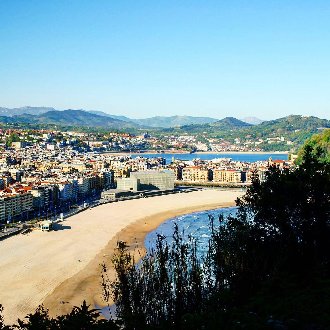 looking out over the beach and city skyline of San Sebastian