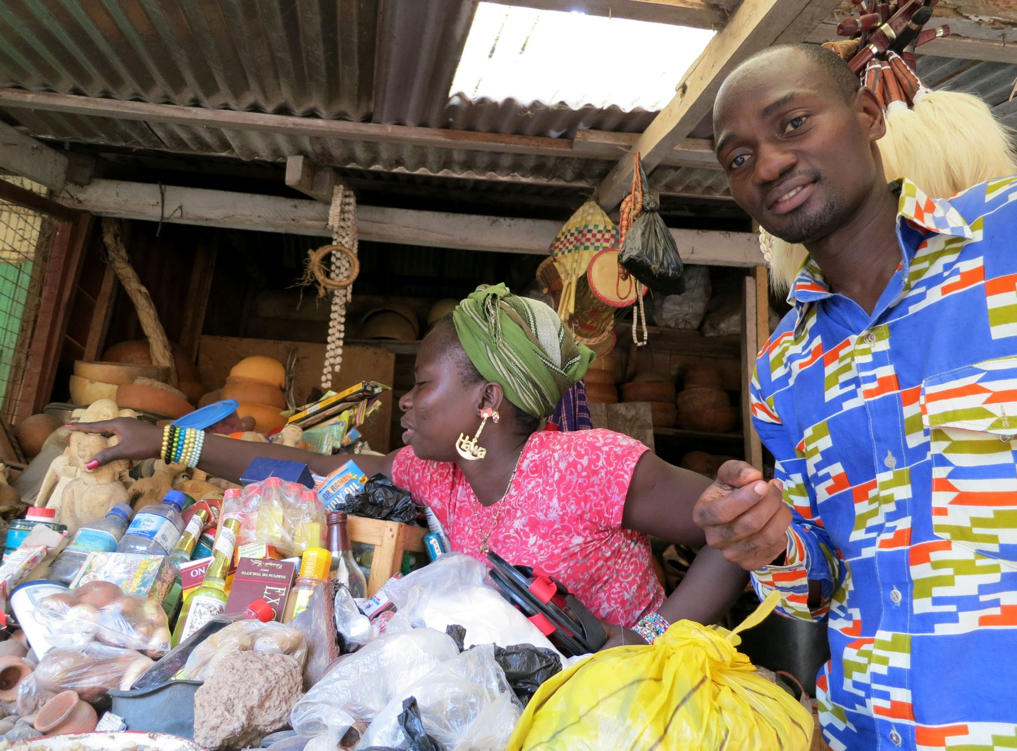 two locals in a market in Accra