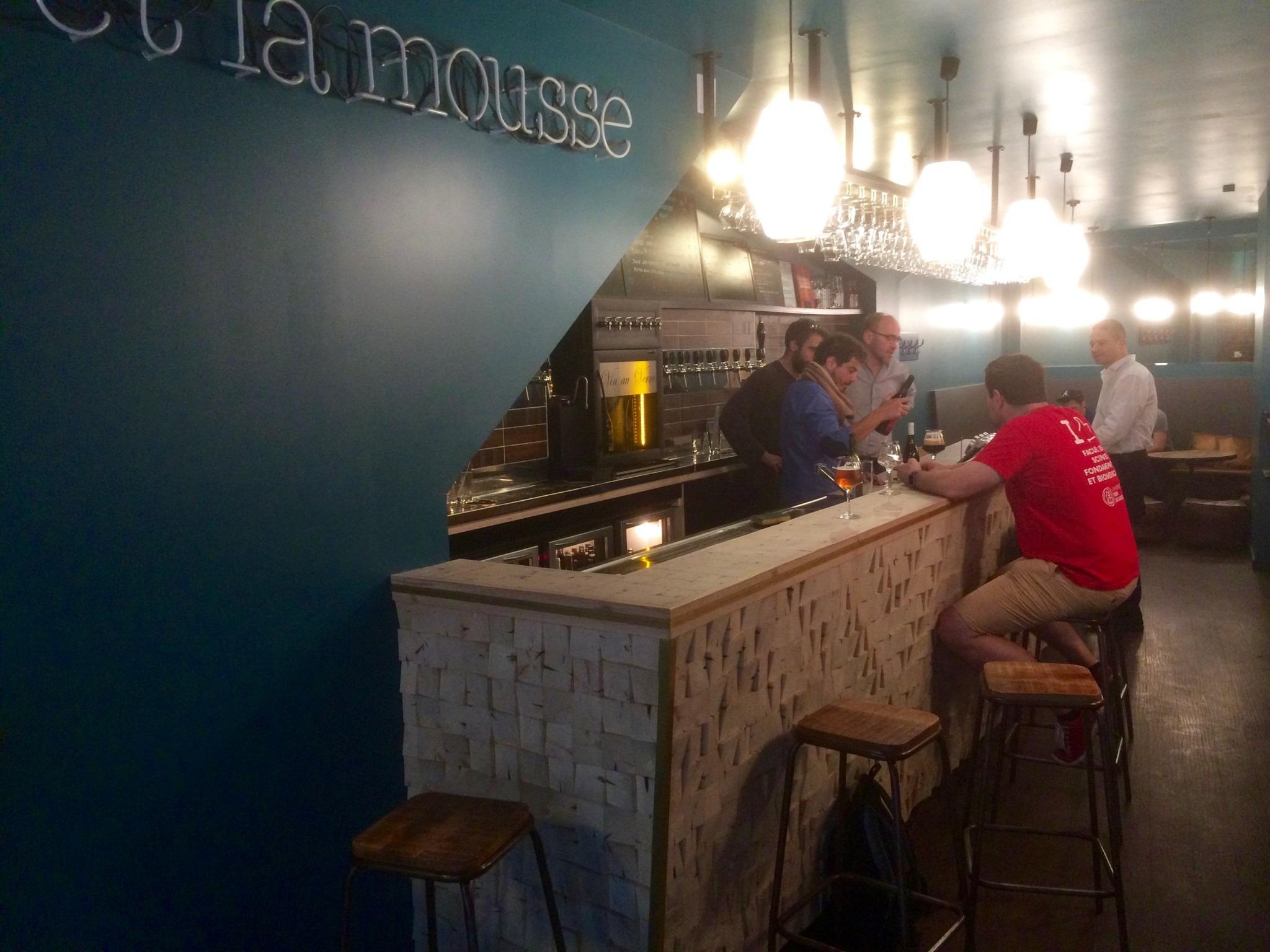 interior of craft beer bar in Paris