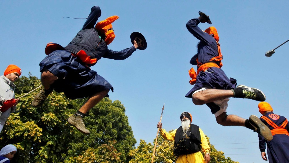 actors fighting at an Amritsar festival