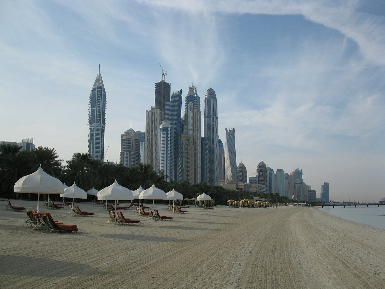 Beach and skyline Dubai