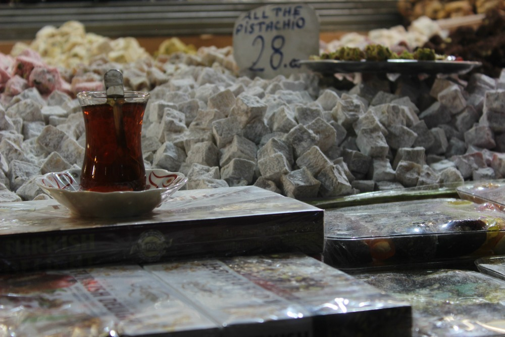 cup of Turkish tea and piles of Turkish delight