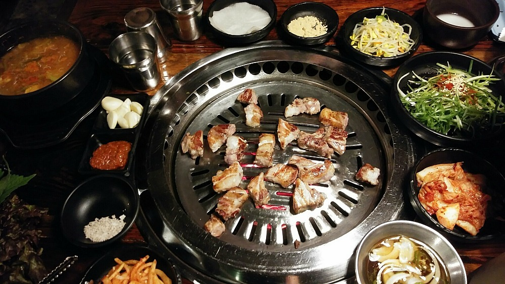 meat on the grill at a Korean barbecue