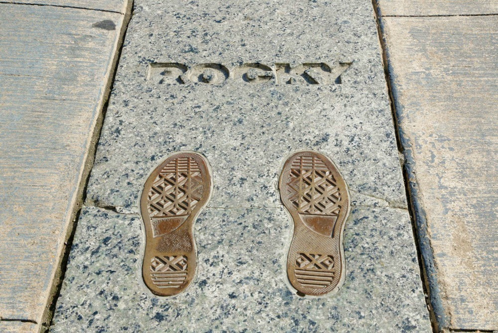imprint of Rocky's feet in Philly