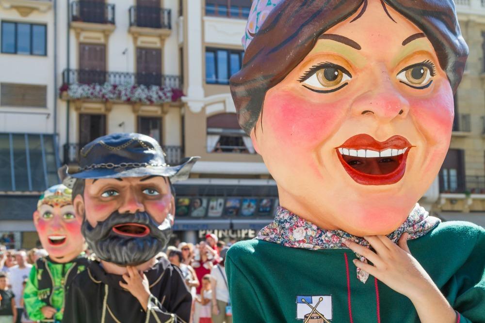 papier mache heads in San Sebastian
