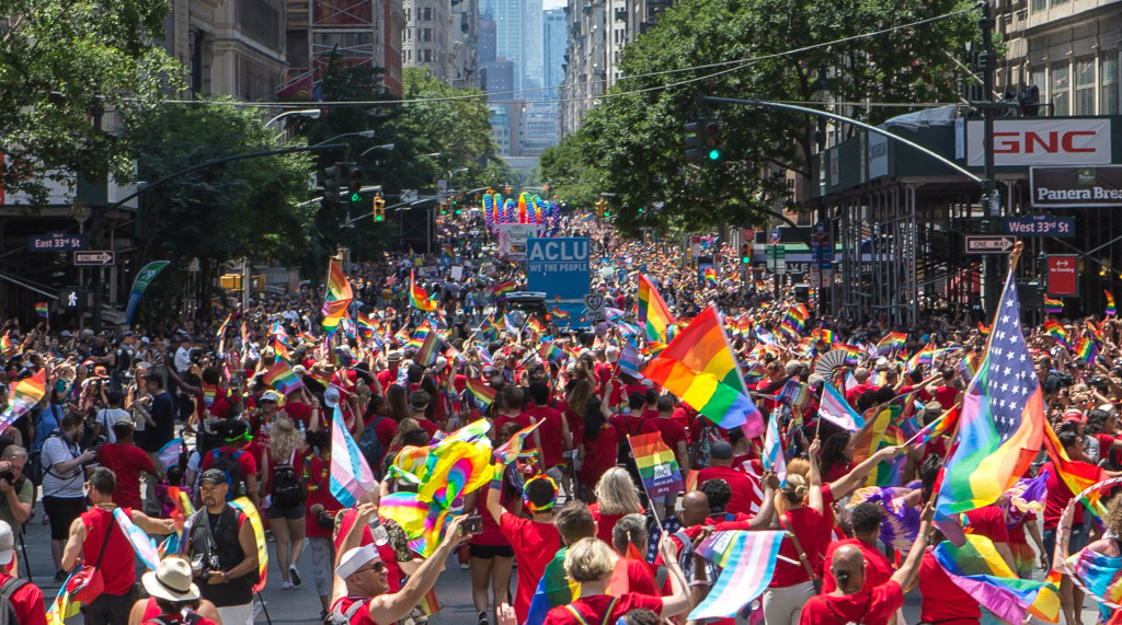 Thousands of people marching on the streets to celebrate Pride in New York City
