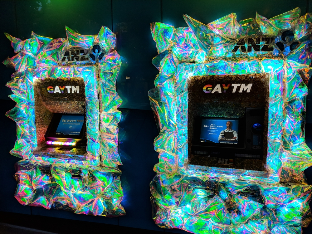 ATM decorated and re-branded as a GAY-TM
