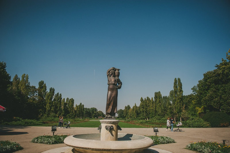 statue in a park in Bucharest