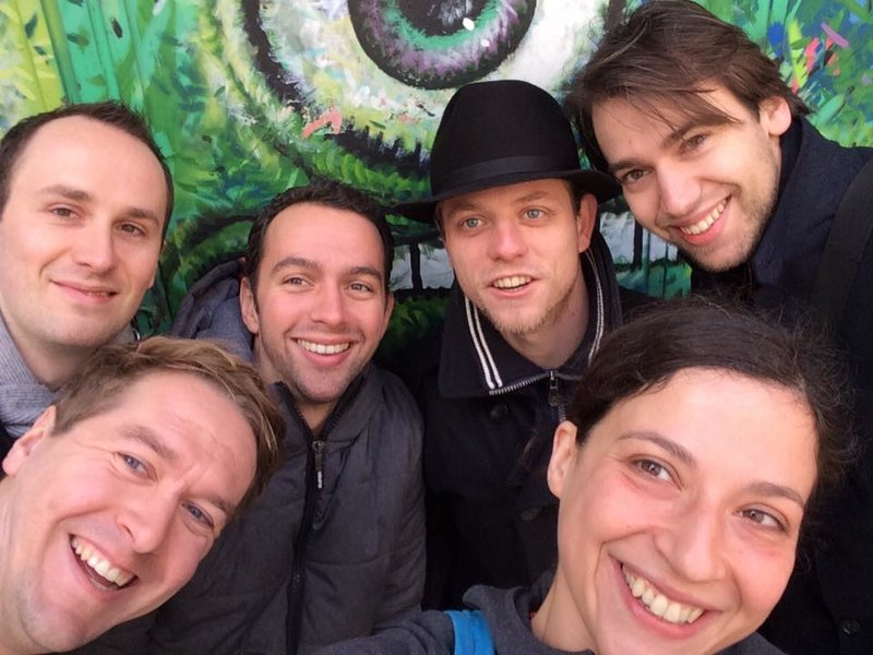 travellers and tour guide in Bucharest