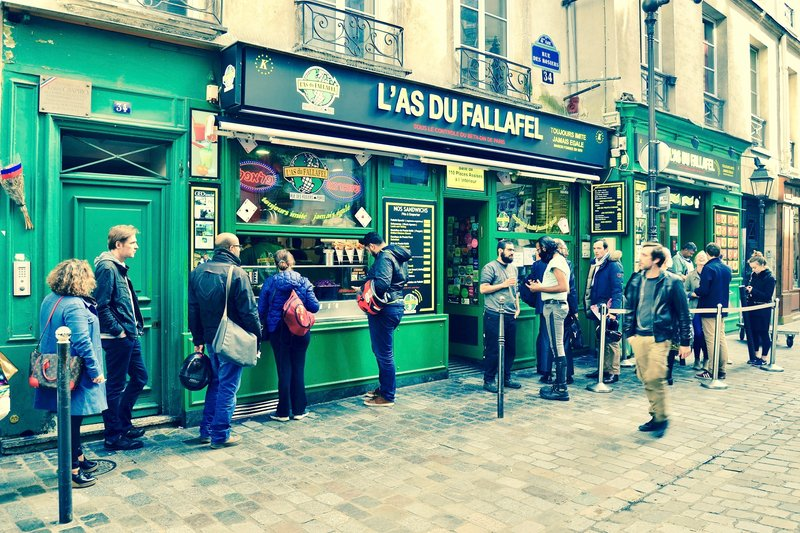 exterior of a falafel stand in Paris