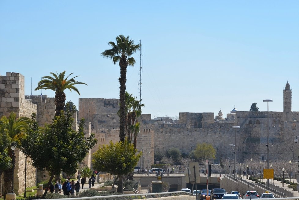 Street and ancient wall in Jerusalem