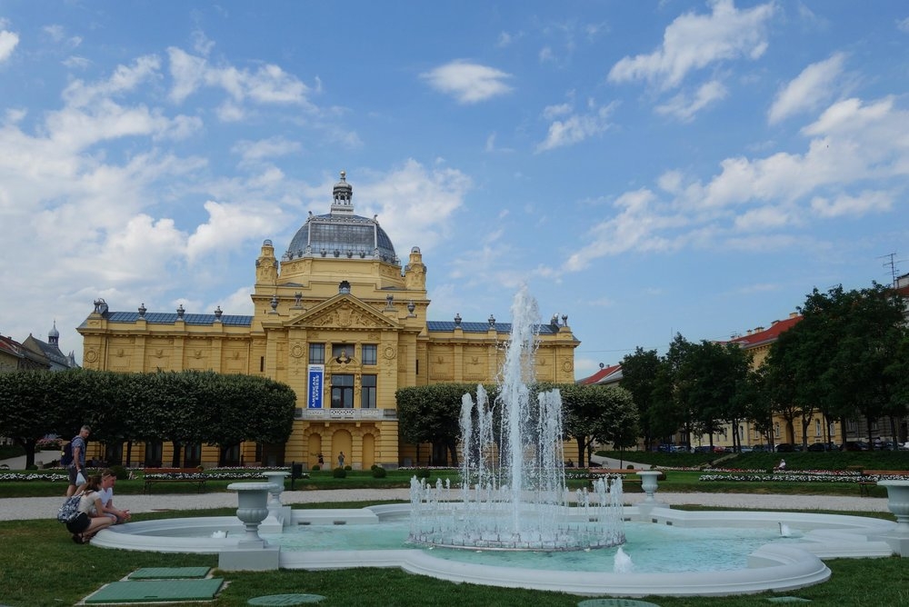fountain and park in Zagreb