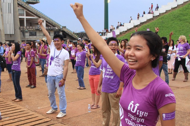 protestors in Cambodia for ActionAid