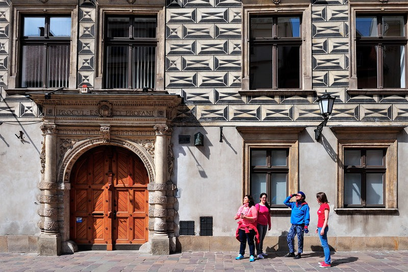 tourists in the Old Town of Krakow