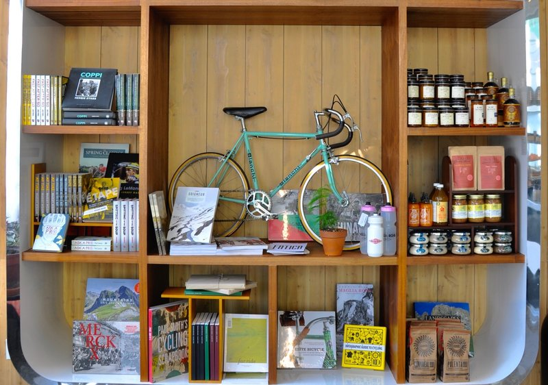 bike supplies on display in a bike shop