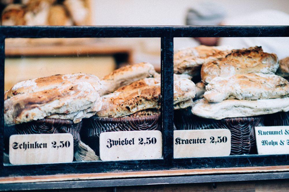 pastries on display in a German bakery
