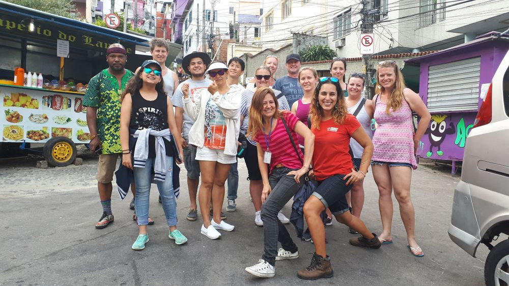 travellers posing in Rio