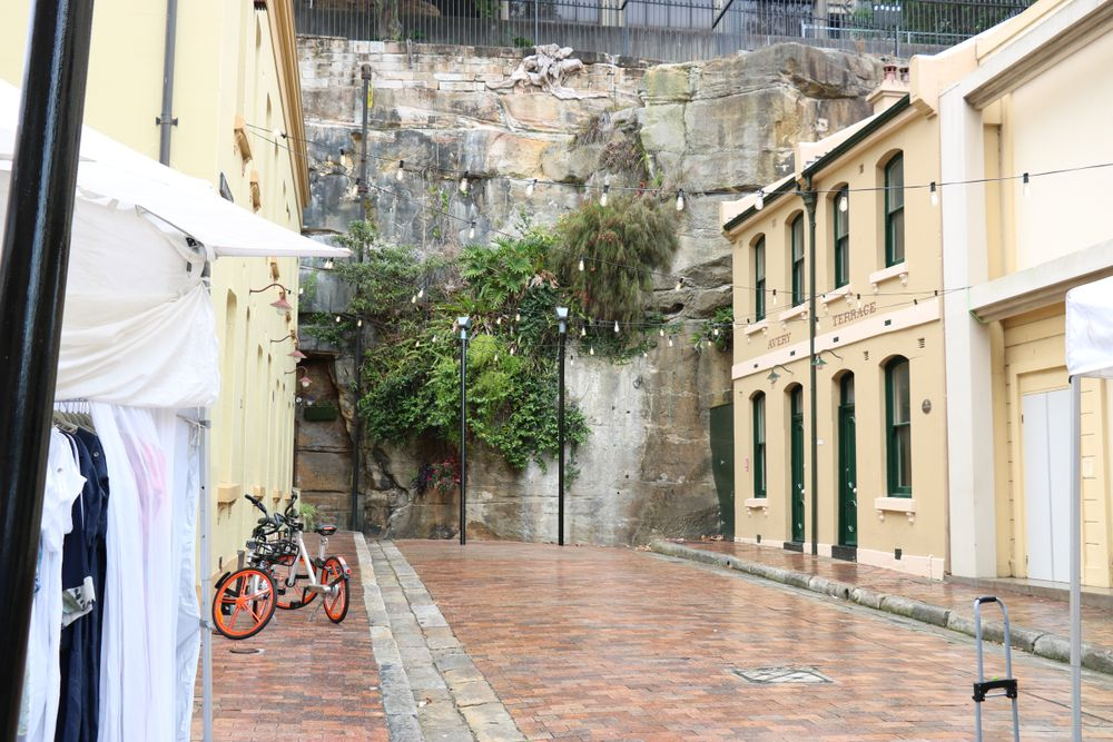 buildings along the rock wall of Sydney's The Rocks