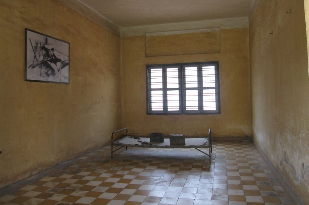 bed frame in the S21 prison