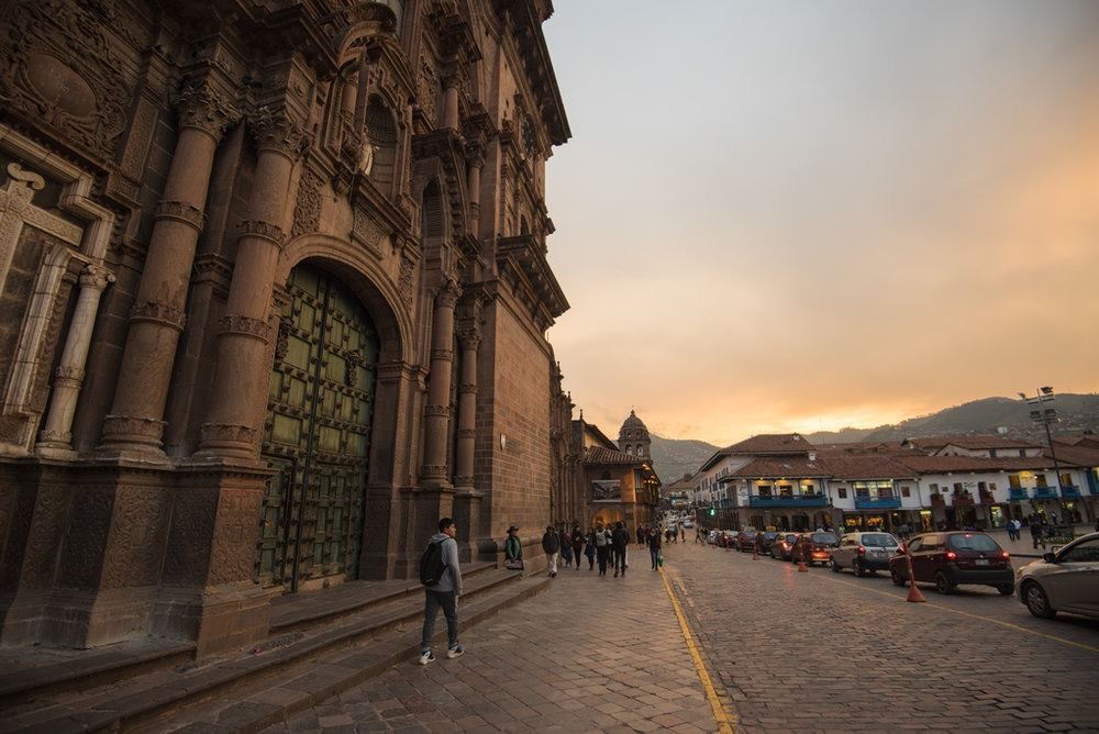 Cusco cathedral at dusk