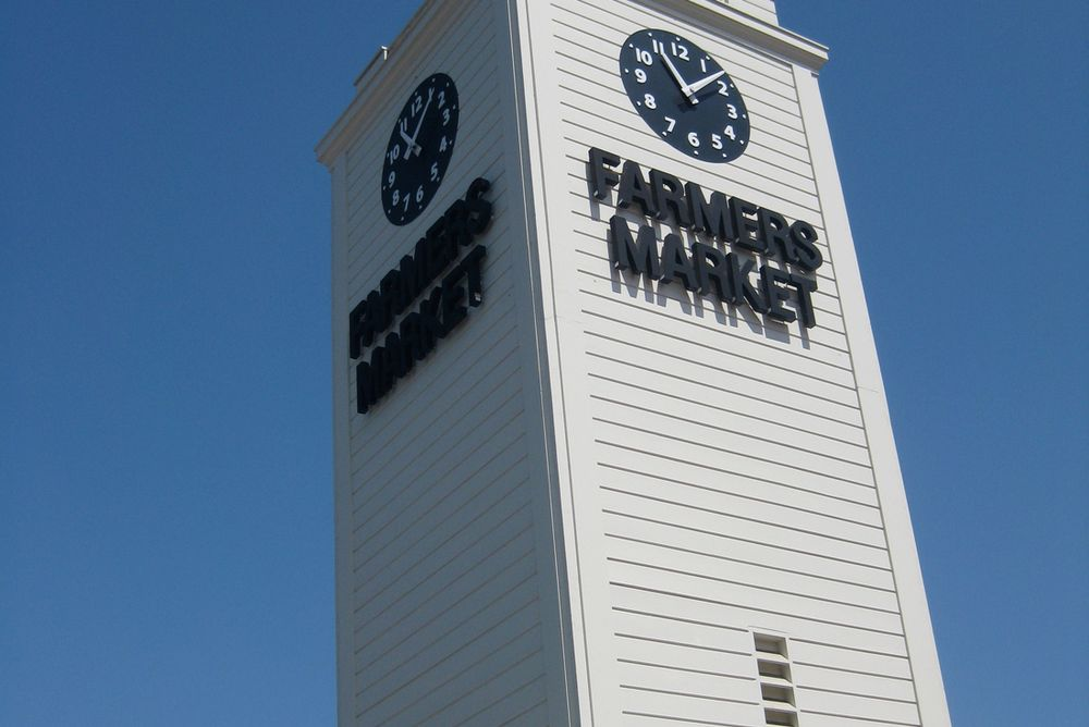 clock tower at the Farmers' Market