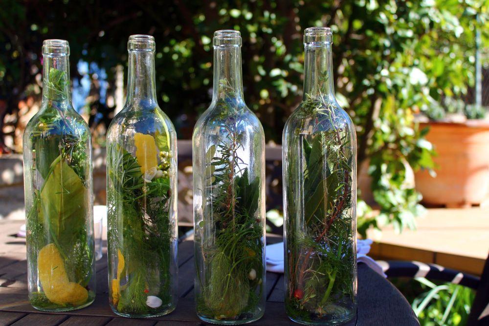 mixed herbs in bottles