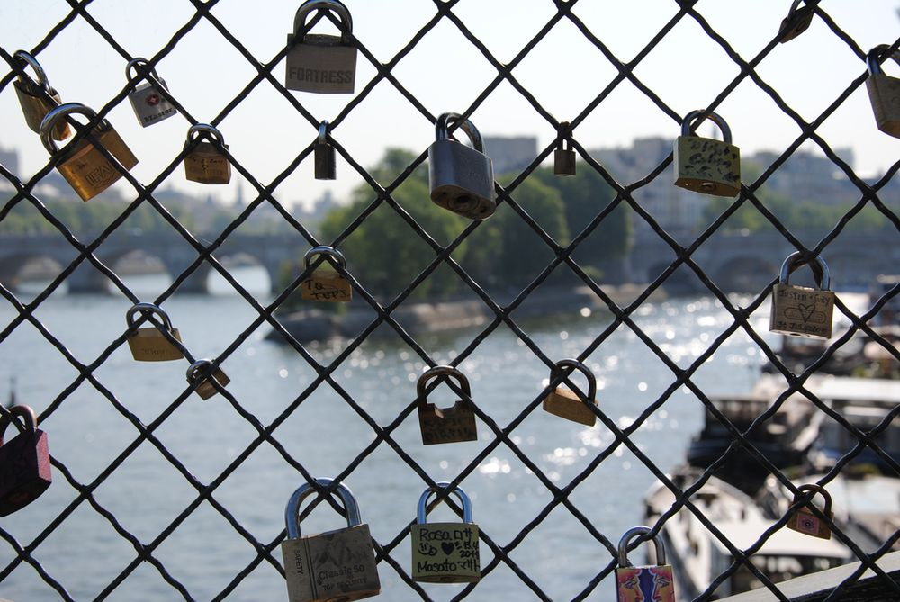 love locks on a bridge fence