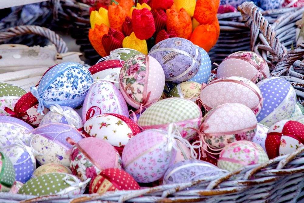 fabric Easter eggs in a basket