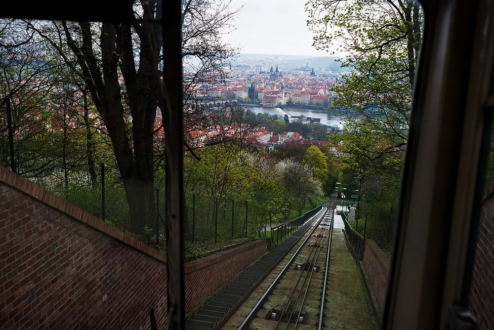 If you can, get a spot in the bottom part of the funicular and don't sit down on the benches — if you stand instead, you'll be able to marvel at the fantastic views of Prague | Photo by Prague Urban Adventures