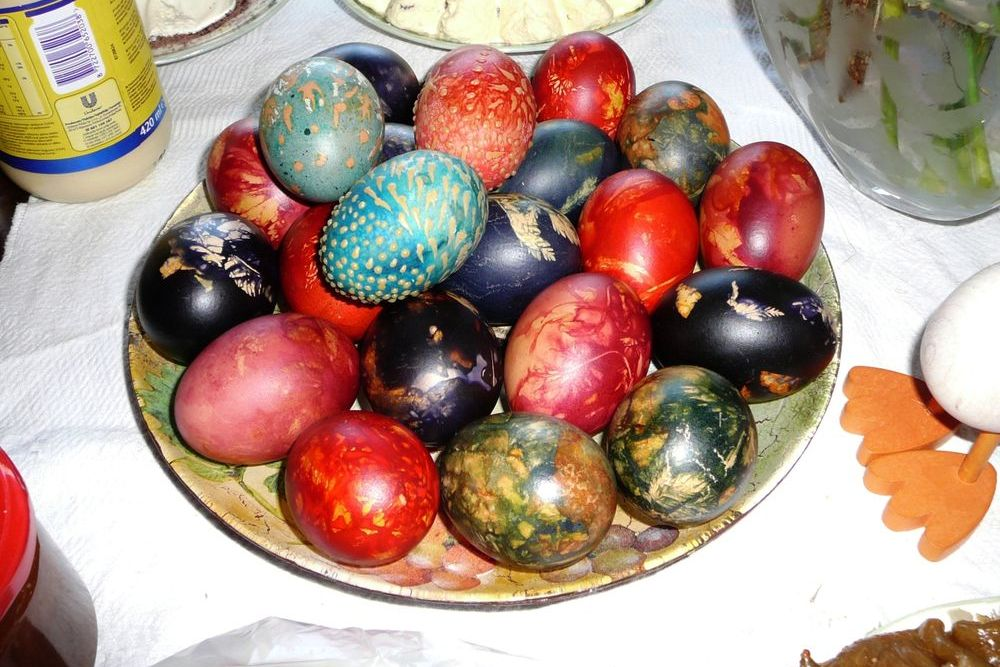 coloured Easter eggs in a bowl