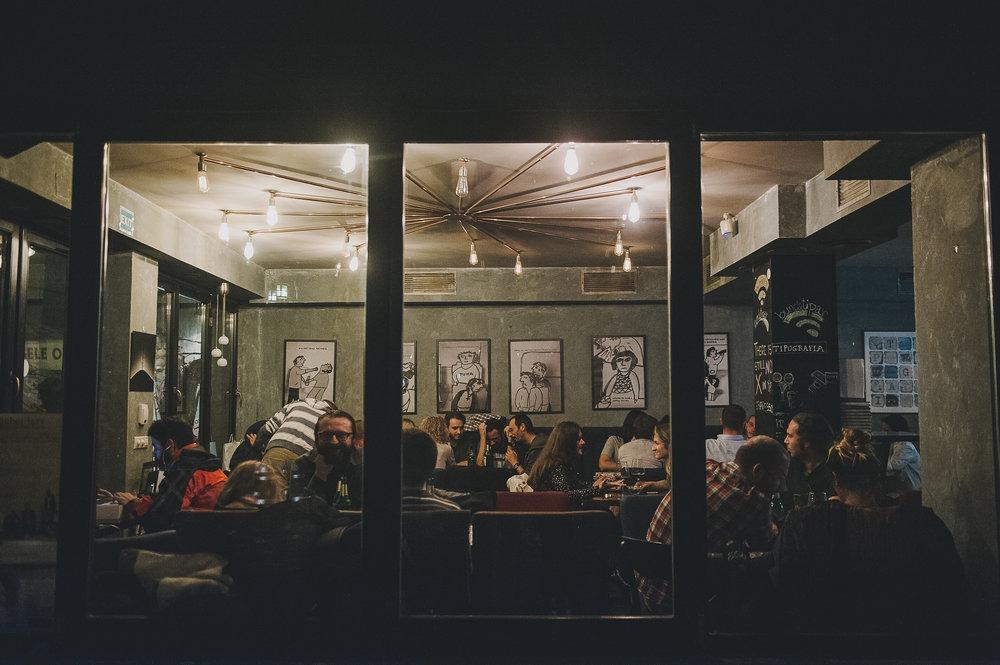 customers in a bar in Brasov