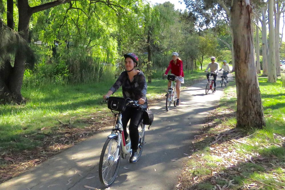 cyclists on a bike path in Canberra