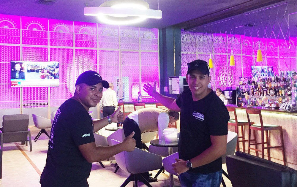 tour guides in a Havana bar
