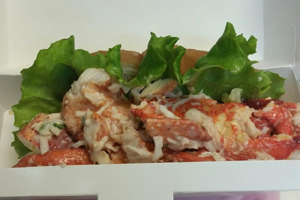 close-up of lobster roll sandwich