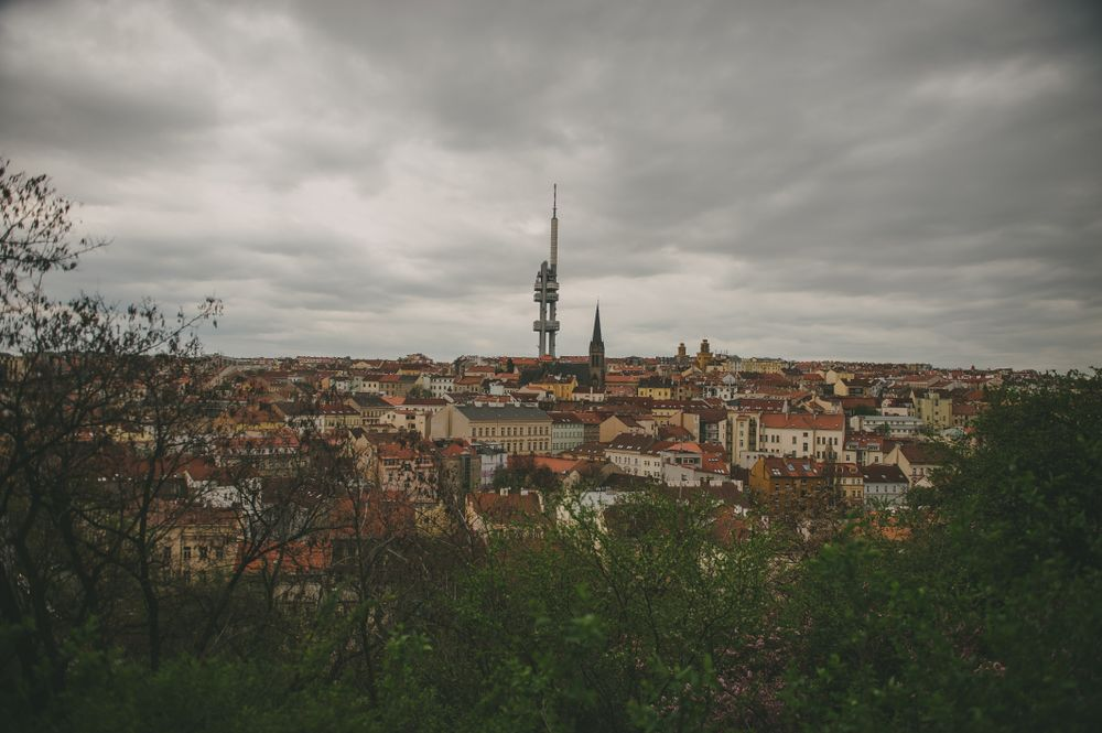 skyline view of Prague