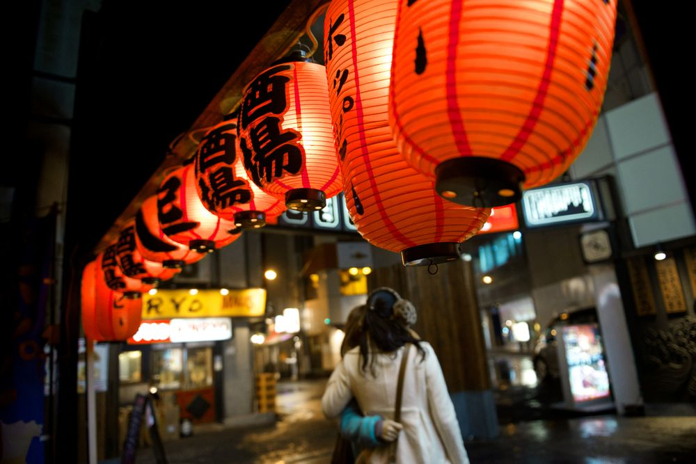 Japanese lanterns at night