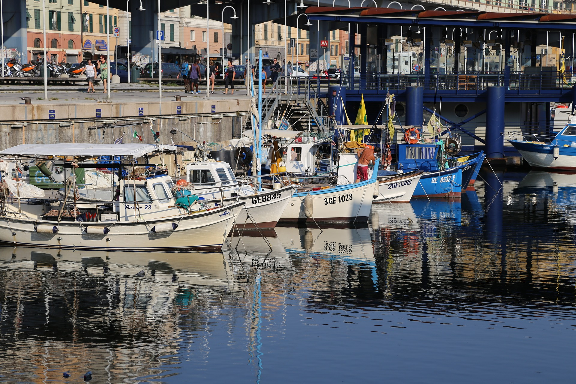Port and boats in Genoa