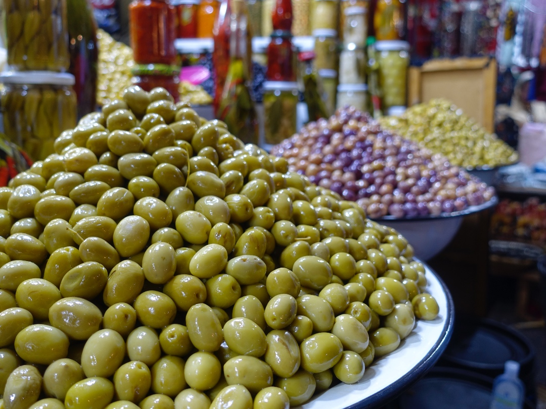 Piles of olives in Marrakech