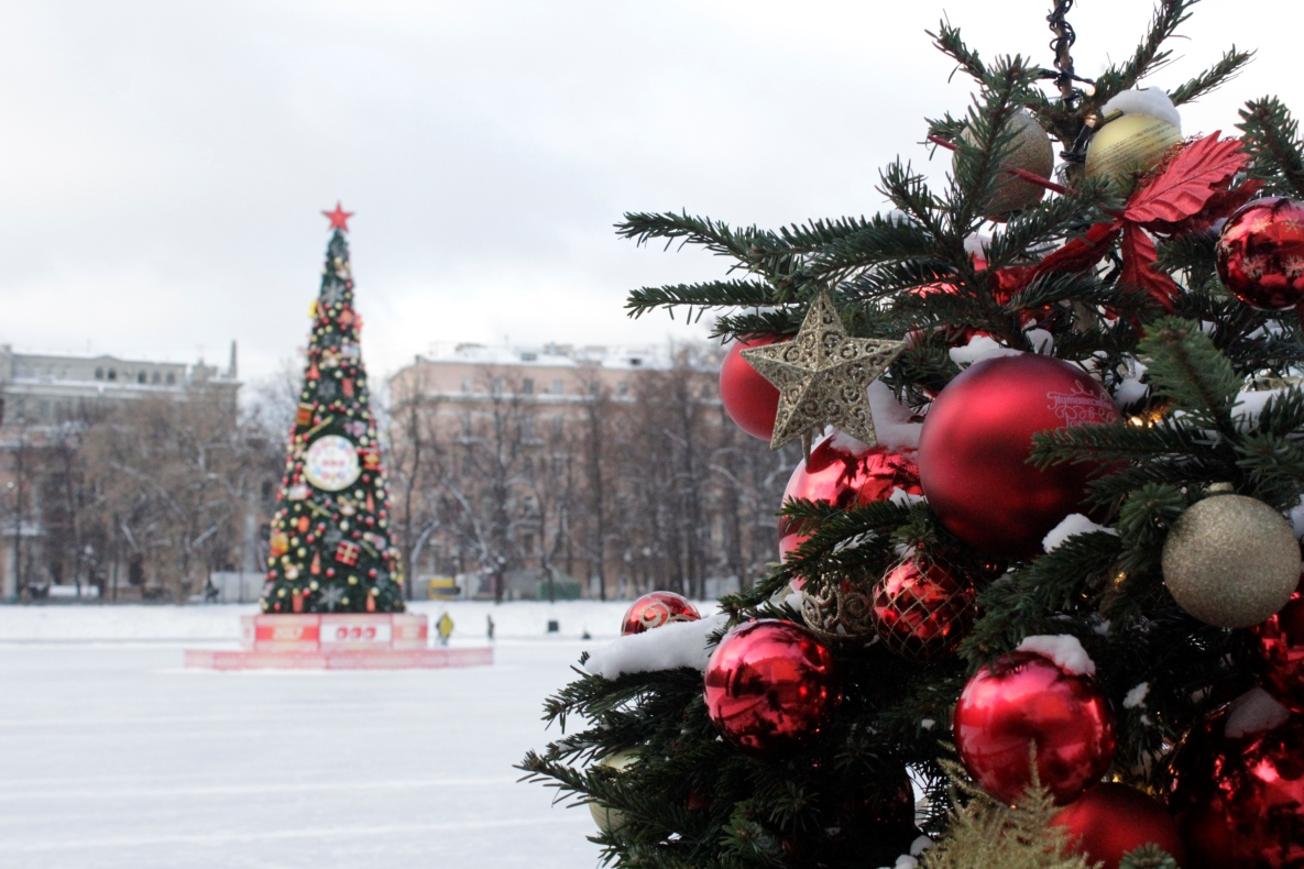 Decorated holiday tree Russia