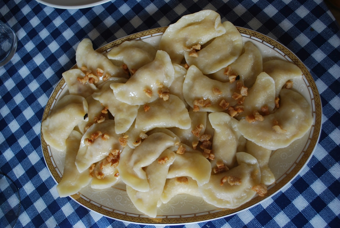 Plate of fresh made pierogi