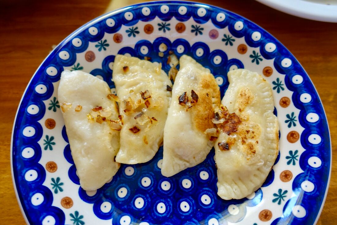 Dish of Polish pierogis