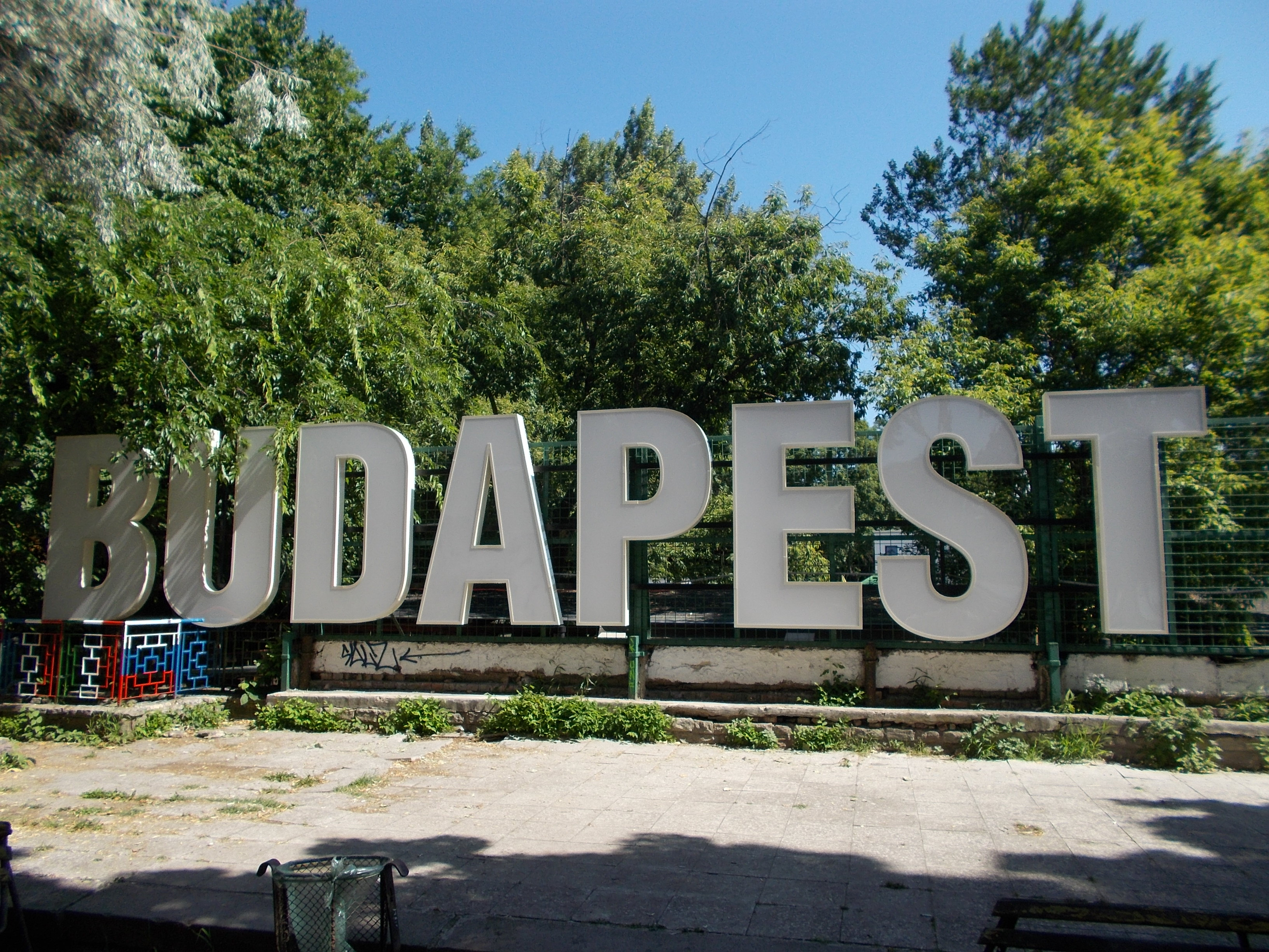 The Hollywood-style Budapest sign on Margaret Island