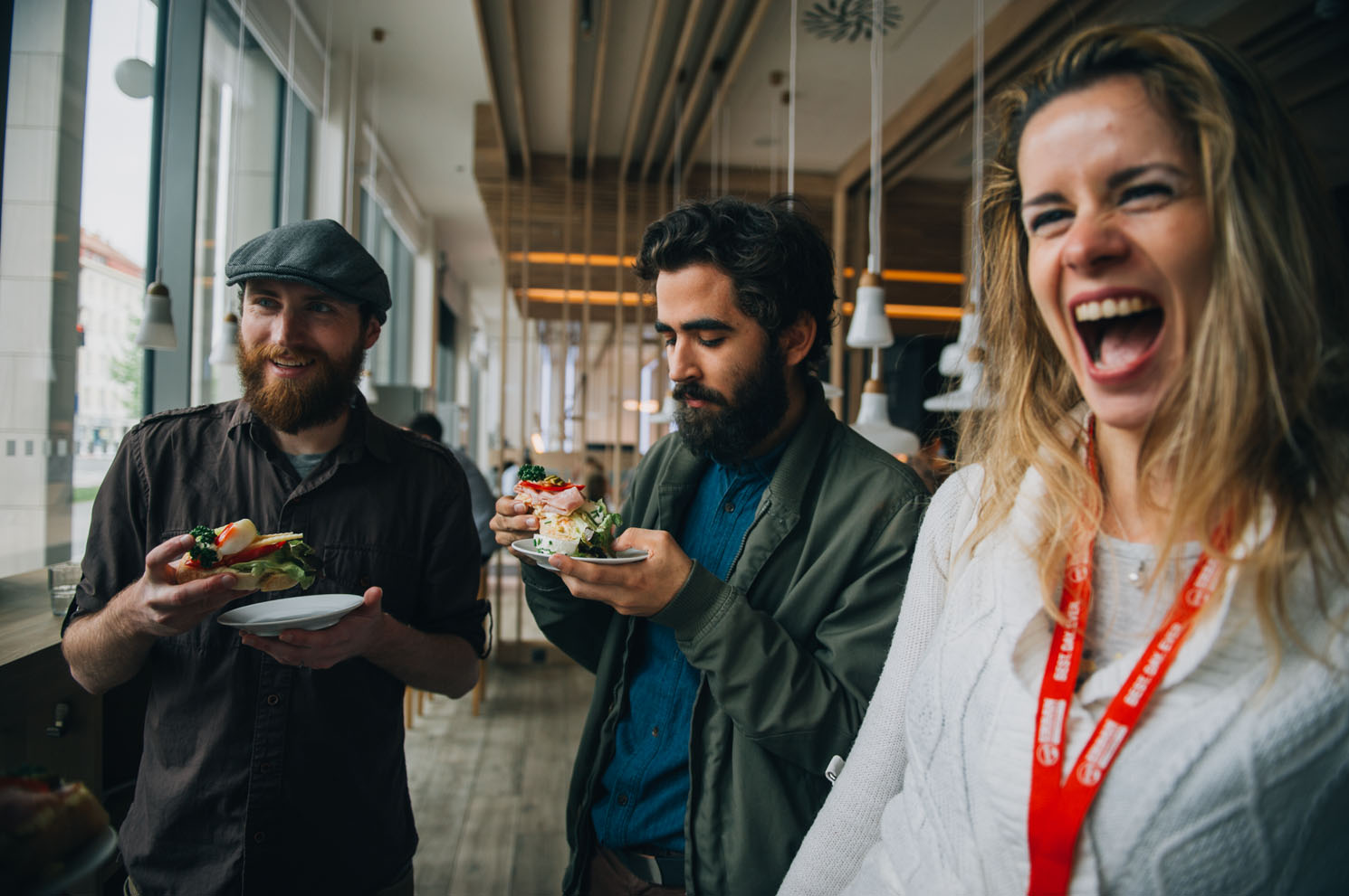 Enjoying an open-face sandwich with the Urban Adventures team on our Prague Food By Foot tour