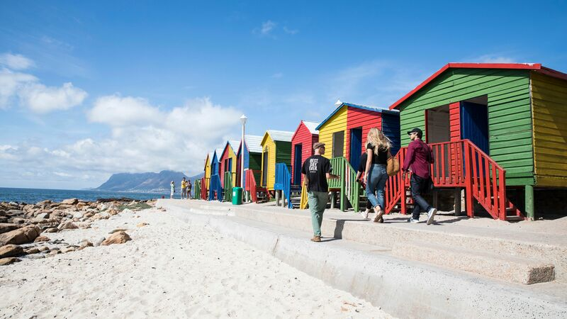 Urban Adventures tour group exploring Muizenberg