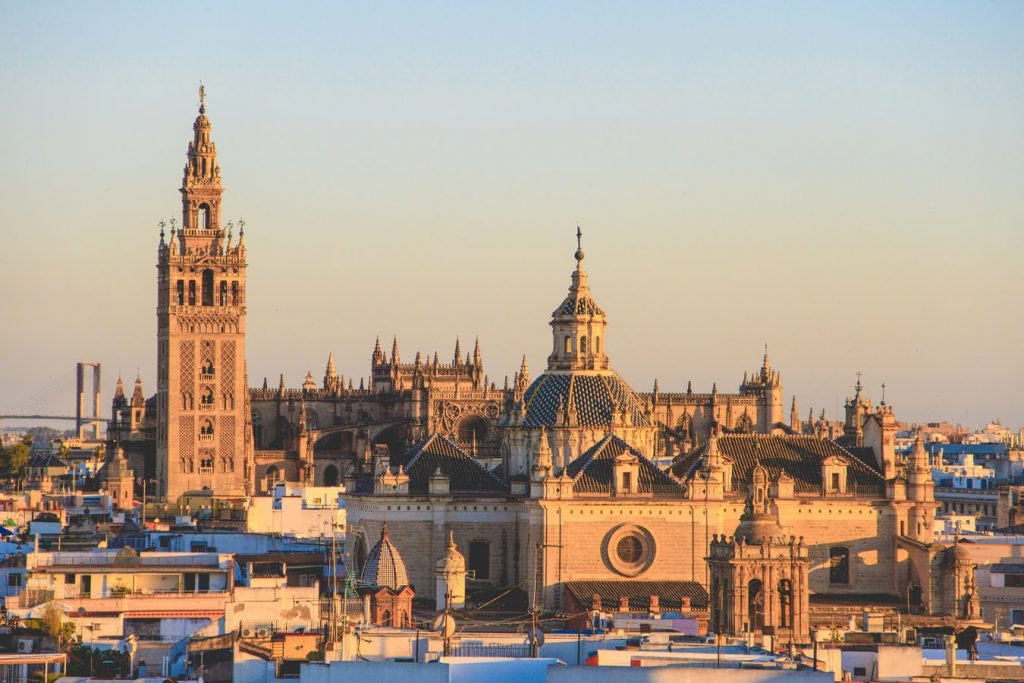 The Cathedral and the Giralda Tower dominates the skyline of Seville. Views fro m the top of the tower are the best in town.