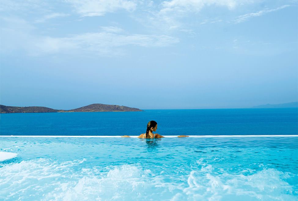 The view from the thallassotherapy pool at the Six Senses Elounda Spa