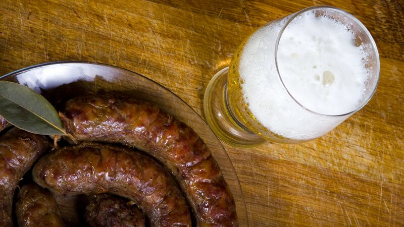 Prague sausages and beer